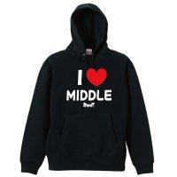 I LOVE MIDDLE プルオーバーパーカー 裏パイル
