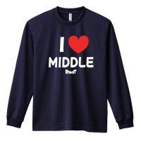I LOVE MIDDLE 長袖ドライ陸上/ランニングTシャツ