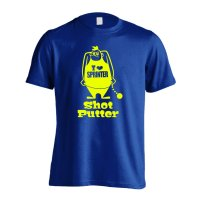 アメコミ風 Shot Putter 半袖プレミアムドライ陸上/ランニングTシャツ